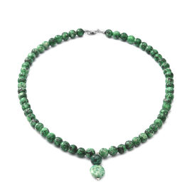 Turquoise Beads Necklace (Size - 20) in Rhodium Overlay Sterling Silver - 250ct