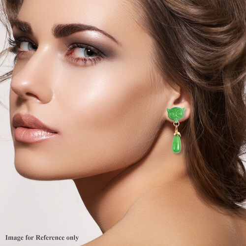Carved Green Jade Owl Drop Earrings (with Push Back) in Yellow Gold Overlay Sterling Silver 42.25 Ct.
