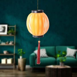 Hand Crafted Chinese Fold Style Wax Guard Pattern Lampshade With Decorative Long Tassels