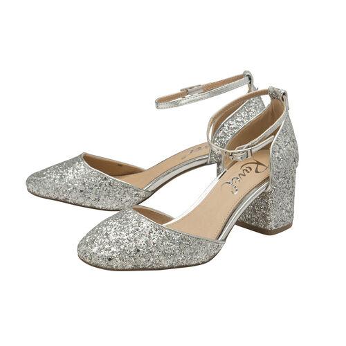 Ravel Silver Glitter Pembroke Low Heeled Closed-Toe Pumps (Size 5)
