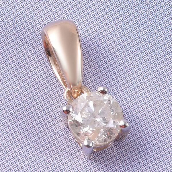 9K Yellow Gold SGL Certified Diamond (Rnd) (I3/G-H) Solitaire Pendant  0.50 Ct.