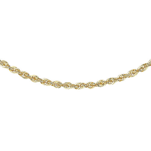 Hatton Garden Close Out Deal - 9K Yellow Gold Sparkle Rope Necklace (Size 18)