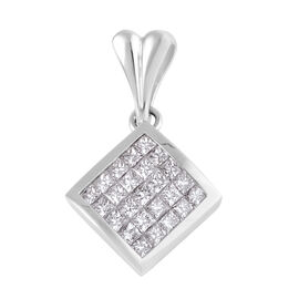 Signature Collection 0.80 Ct Diamond Invisible Set Princess Cut Pendant in 18K White Gold 4.10 grams