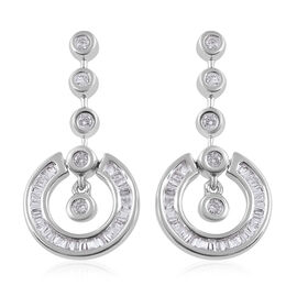 9K White Gold SGL Certified Diamond (Bgt and Rnd) (I3/G-H) Distinctive Pendulum Earrings (with Push