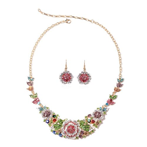 Multi Colour Crystal Floral Necklace and Floral Earrings 20 Inch with 4 Inch Extender