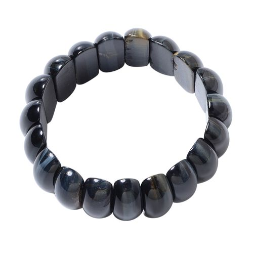 Blue Tiger Eye (Cush 23x10mm) Stretchable Bracelet (Size 7) 307.00 Ct.