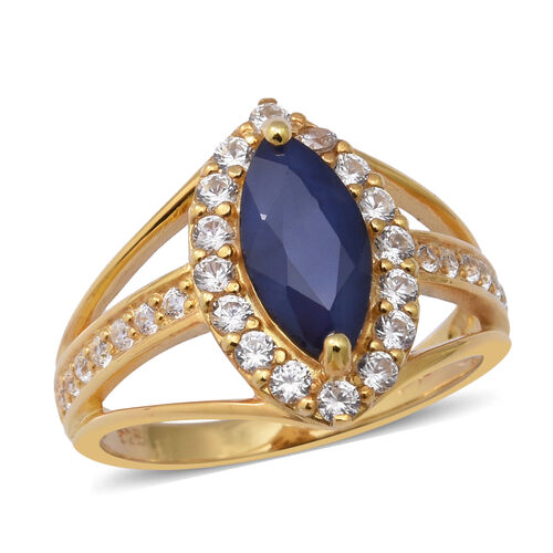 AA Kanchanaburi Blue Sapphire and Natural Cambodian Zircon Ring in Yellow Gold Overlay Sterling Silv