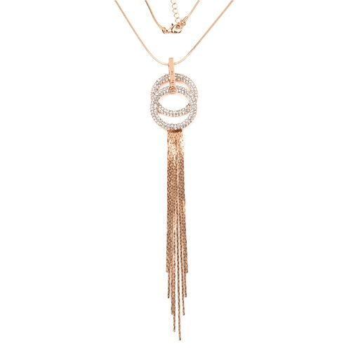 Designer INspired-White Austrian Crystal (Rnd) Tassel Pendant With Chain (Size 30 with 2 inch Extender) in Gold Plated
