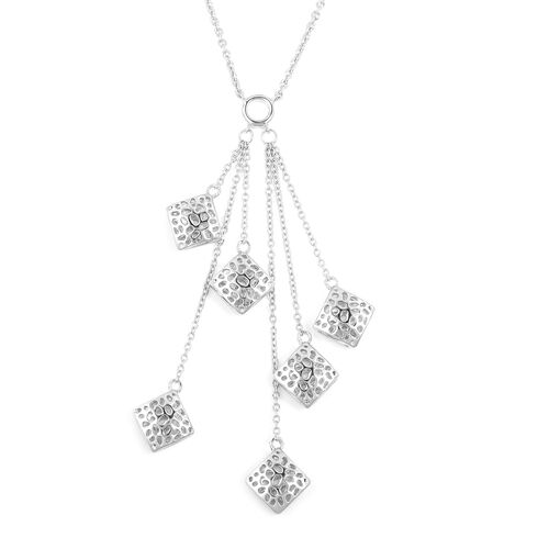 WEBEX- Rachel Galley Rhodium Plated Sterling Silver Tassel Necklace (Size 18), Silver wt 12.85 Gms.