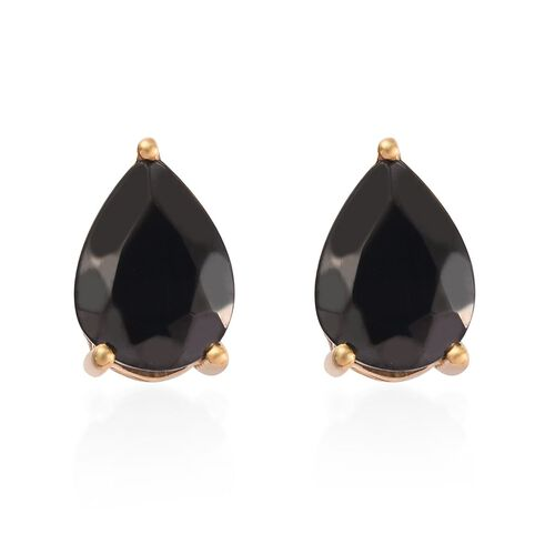 Elite Shungite (Pear 8x6mm) Stud Earrings (with Push Back) in Yellow Gold Overlay Sterling Silver 1.