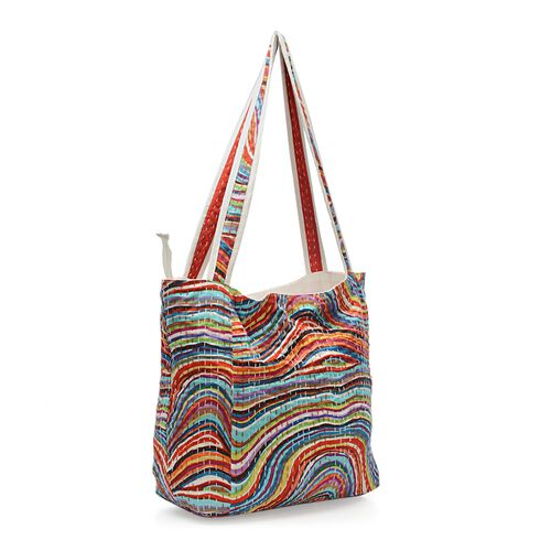 100% Cotton Kantha Embroidered Ripple Pattern Hand Bag with Zip Closure (Size 33x16x36 Cm) - Multicolour