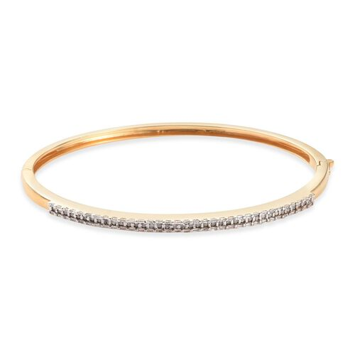 Diamond (Rnd) Bangle (Size 7.5) in 14K Gold Overlay Sterling Silver   0.750 Ct, Silver wt 14.00 Gms, Number of Diamonds 104