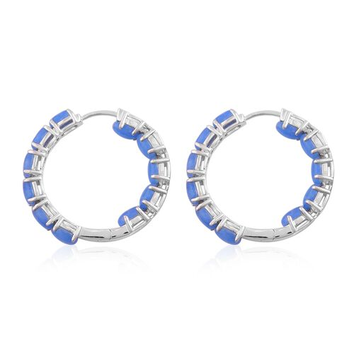 Blue Jade (Ovl) Hoop Earrings (with Clasp Lock) in Rhodium Plated Sterling Silver 13.000 Ct. Silver wt 8.64 Gms.