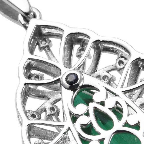 GP - Emeraldine Triplet Quartz, Natural Cambodian Zircon and Blue Sapphire Pendant in Platinum Overlay Sterling Silver 5.93 Ct.