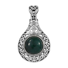 Artisan Crafted Green Sapphire (Rnd) Pendant in Sterling Silver 5.460 Ct.