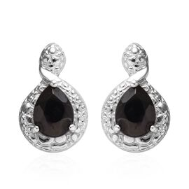 1.33 Ct Elite Shungite Solitaire Drop Earrings in Platinum Plated Sterling Silver