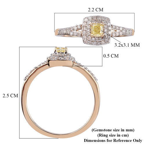Diamond (0.25 Ct) and Natural Yellow Diamond 9K Y Gold Ring  0.500  Ct.