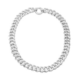 Curb Chain Necklace in Rhodium Plated Silver 63.26 Grams 20 Inch
