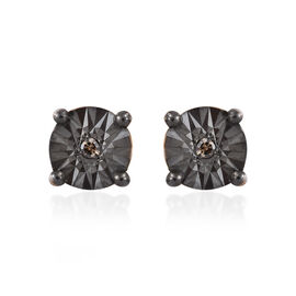 Natural Champagne Diamond (Rnd) Stud Earrings (with Push Back) in 14K Gold and Black Overlay Sterling Silver.