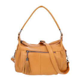 100% Genuine Leather Tote Bag with Zipper Closure and Detachable Shoulder Strap (Size 30x23x12 Cm) -