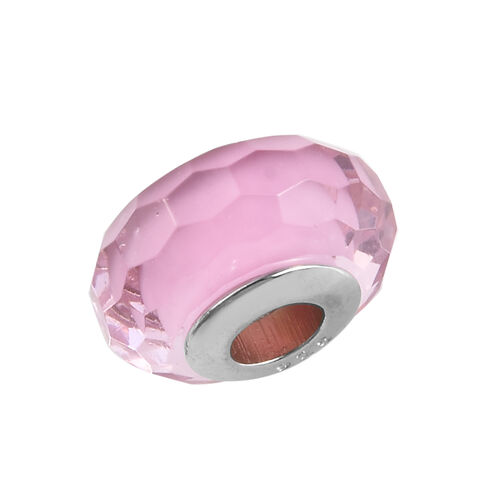 Charmes De Memoire Light Pink Murano Style Glass Bead Bangle (Size 7.5) in Platinum Overlay Sterling Silver