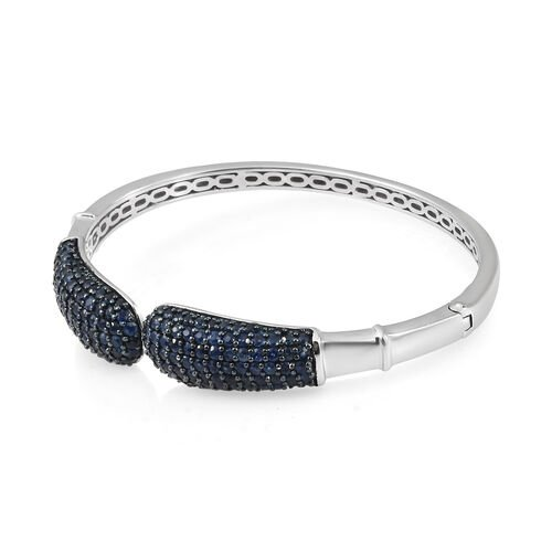 Kanchanaburi Blue Sapphire (Rnd) Bangle (Size 7.5) in Black Platinum Overlay Sterling Silver 7.250 Ct. Silver wt 27.03 Gms. Number of Gemstone 172