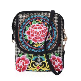 SHANGHAI  COLLECTION - Embroidered Flower Pattern Crossbody Bag with Detachable Strap and Zipper Clo