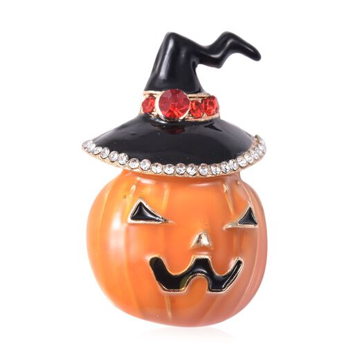 Set of 2 - Red, White and Multi Colour Austrian Crystal Enamelled Witchs Hat and Pumpkin Brooch in Rose Gold Tone