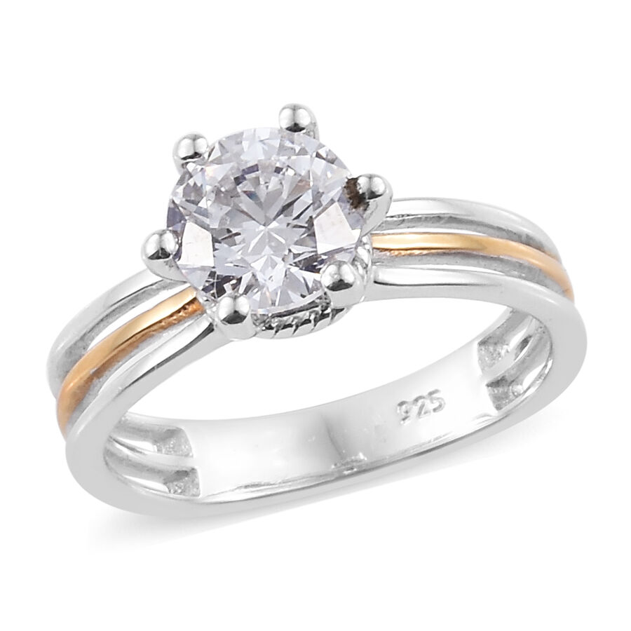 0ab163eb6 J Francis Made with Swarovski Zirconia Solitaire Ring in Sterling Silver  Whit Three split shank ...