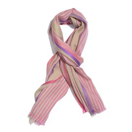 92% Merino Wool and 8% Silk Beige, Pink and Purple Colour Stripes Pattern Scarf with Fringes (Size 1