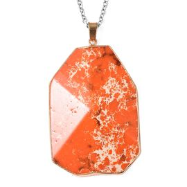 100 Ct Simulated Orange Imperial Jasper Solitaire Pendant with Chain in Gold Tone