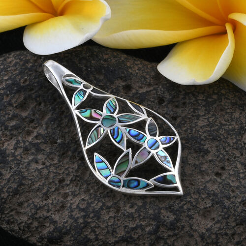 Royal Bali Collection Abalone Shell Flower Pendant in Sterling Silver
