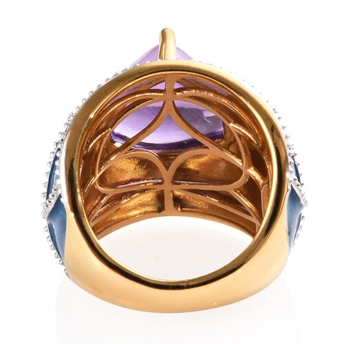 GP Sugar Loaf Cut Amethyst (Trl 12 mm) and Blue Sapphire Enamelled Dome Ring in 14K Gold Overlay Sterling Silver 7.25 Ct, Silver wt 9.00 Gms