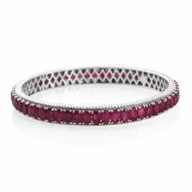 Designer Inspired - African Ruby (Ovl) Bangle (Size 6.5 / Small) in Platinum Overlay Sterling Silver 20.750 Ct. Silver wt 13.40 Gms.