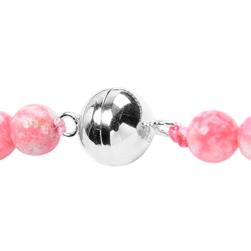 Limited Edition- Thulite Beads Necklace (Size 20) with Magnetic Lock in Rhodium Overlay Sterling Silver 443.00 Ct.