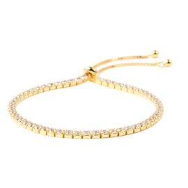 ELANZA Simulated Diamond Tennis Adjustable Bracelet in Gold Plated Silver 6.5 to 8 Inch