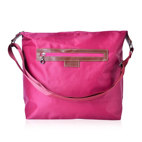 Kingston Fuchsia Water Resistant Crossbody Bag with Adjustable Shoulder Strap (Size 38X34X32X12.5 Cm)