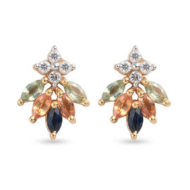 Rainbow Sapphire and Natural Cambodian Zircon Stud Earrings (with Push Back) in 14K Gold Overlay Ste