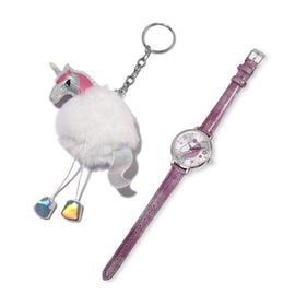 Set of 2 STRADA Japanese Movement Water Resistant Watch with Purple Strap and White Colour Horse Keychain
