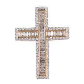 Collectors Edition - lLIANA 18K Yellow Gold IGI Certified (SI/G-H) Diamond (Bgt and Rnd) Cross Pendant 1.010  Ct