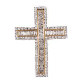 1.01 Carat lLIANA IGI Certified SI GH Diamond Cross Pendant in 18K Gold