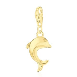 Yellow Gold Overlay Sterling Silver Dolphin Charm