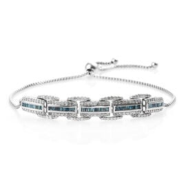 1.51 Ct Blue and White Diamond Adjustable Bolo Bracelet in Platinum Plated Sterling Silver 7.7 Grams