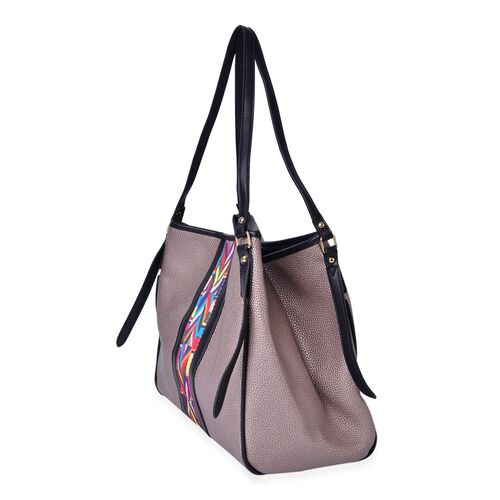 Bronze, Black and Multi Colour Aztec Pattern Stripe Embellished Tote Bag (Size 32X31X14 Cm)