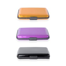 Set of 3 - 2x RFID Card Holder Wallets (Purple & Yellow) and 1x RFID Card Holder with Intergrated Po