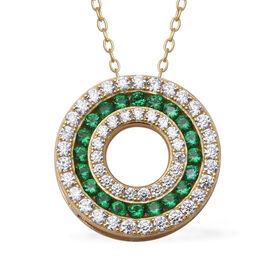 ELANZA Simulated Diopside (Rnd), Simulated Diamond Three Row Circle Pendant With Chain (Size 18) in