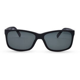 TIMBERLAND Black Rectangle Sunglasses with Grey Lenses