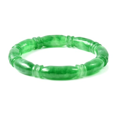 One Time Deal- Craved Green Jade Knot Bangle (Size 7.5) 256.50 Ct.