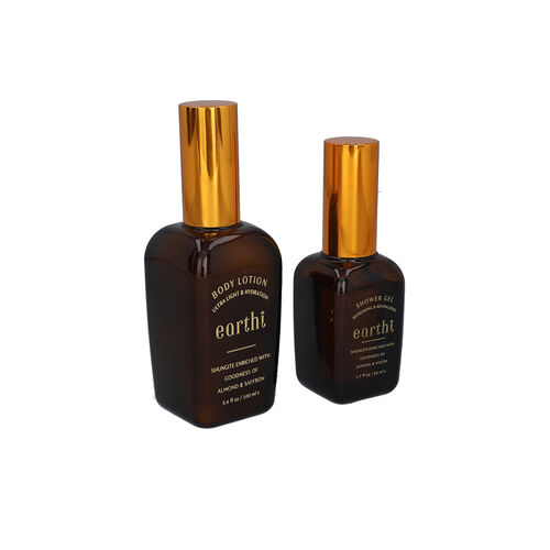 Shungite Enriched Earthi Almond and Saffron Body Lotion with Complementary Jasmine and Mogra Shower Gel (100ml+50ml)