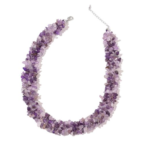 Limited Offer- Amethyst Necklace (Size 18 with 2 inch Extender) and Stretchable Bracelet (Size 7.5) in Silver Tone 840.000 Ct.